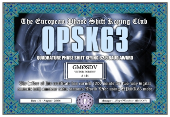 QPSK63 Award